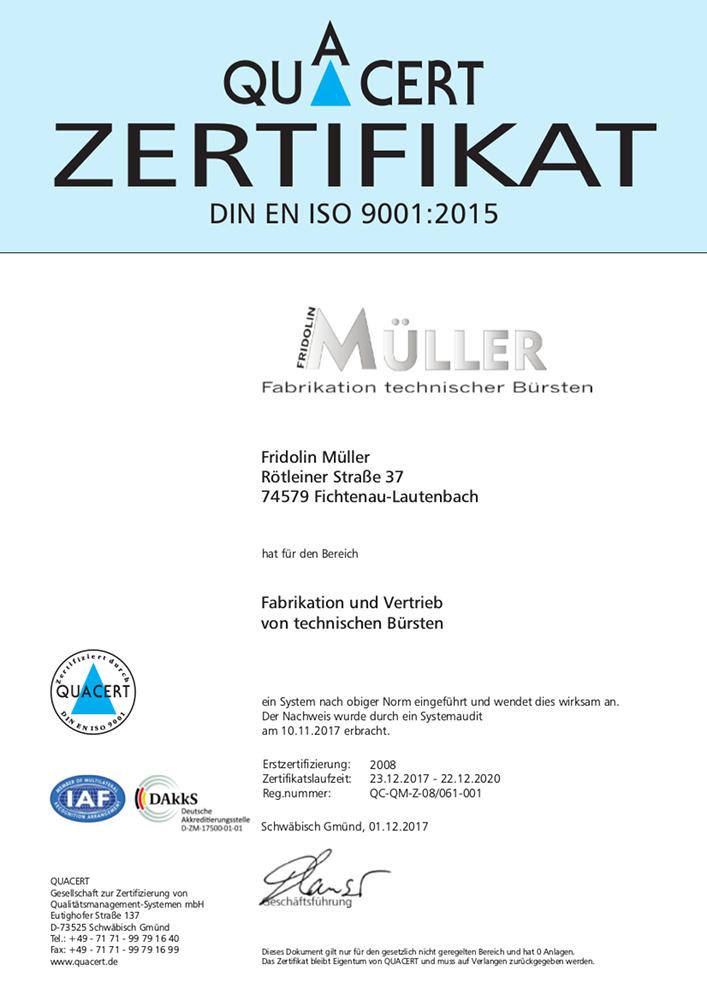 Certified Company - Fridolin Müller, Fabrikation technischer Bürsten ...